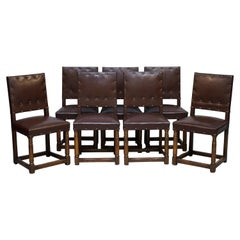 Set of Six or Seven circa 1900 Solid English Oak Brown Leather Dining Chairs