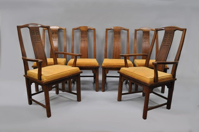 Set of Six Oriental James Mont Style Dining Chairs by Century Mid-Century Modern For Sale 6