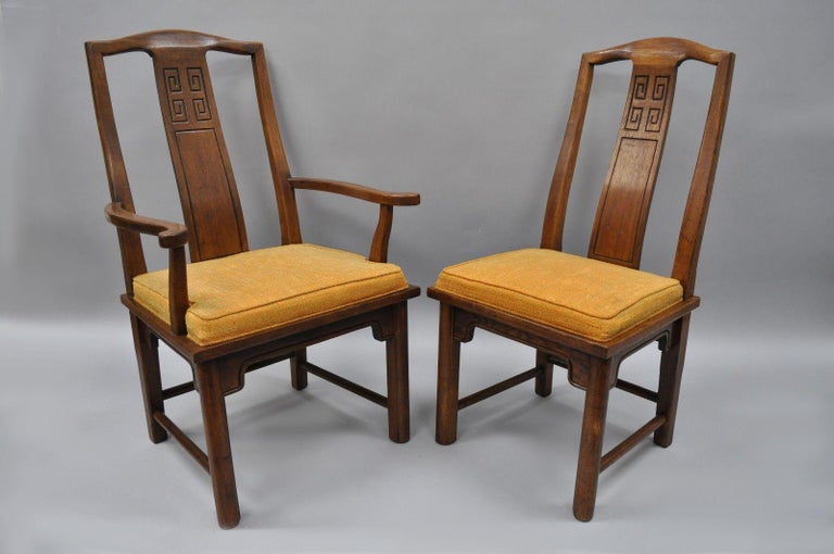 Set of six vintage oriental James Mont style dining chairs by century furniture. Item features heavy solid wood construction, beautiful woodgrain, nicely carved details, original label, quality American craftsmanship, circa 1960s. Measurements: