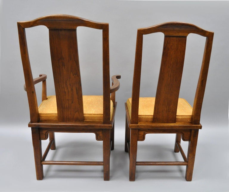 Wood Set of Six Oriental James Mont Style Dining Chairs by Century Mid-Century Modern For Sale