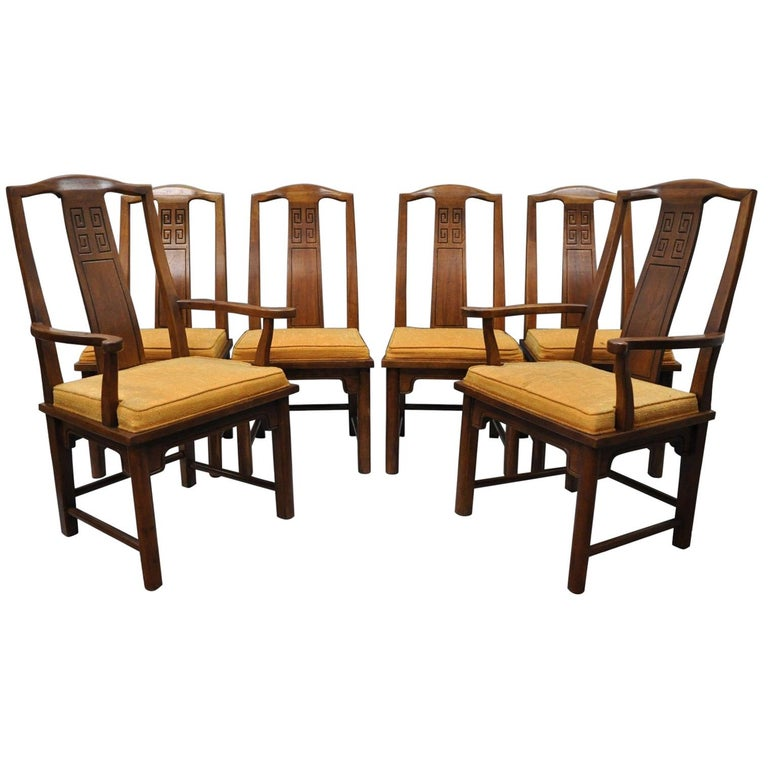 Set of Six Oriental James Mont Style Dining Chairs by Century Mid-Century Modern For Sale