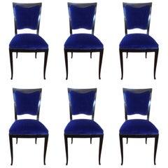 Set of Six Original Art Deco Ebonized Wood Blue Velvet Black Dining Chair, 1930