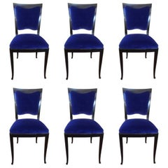 Set of Six Original Art Deco French Blue Chairs, 1930s