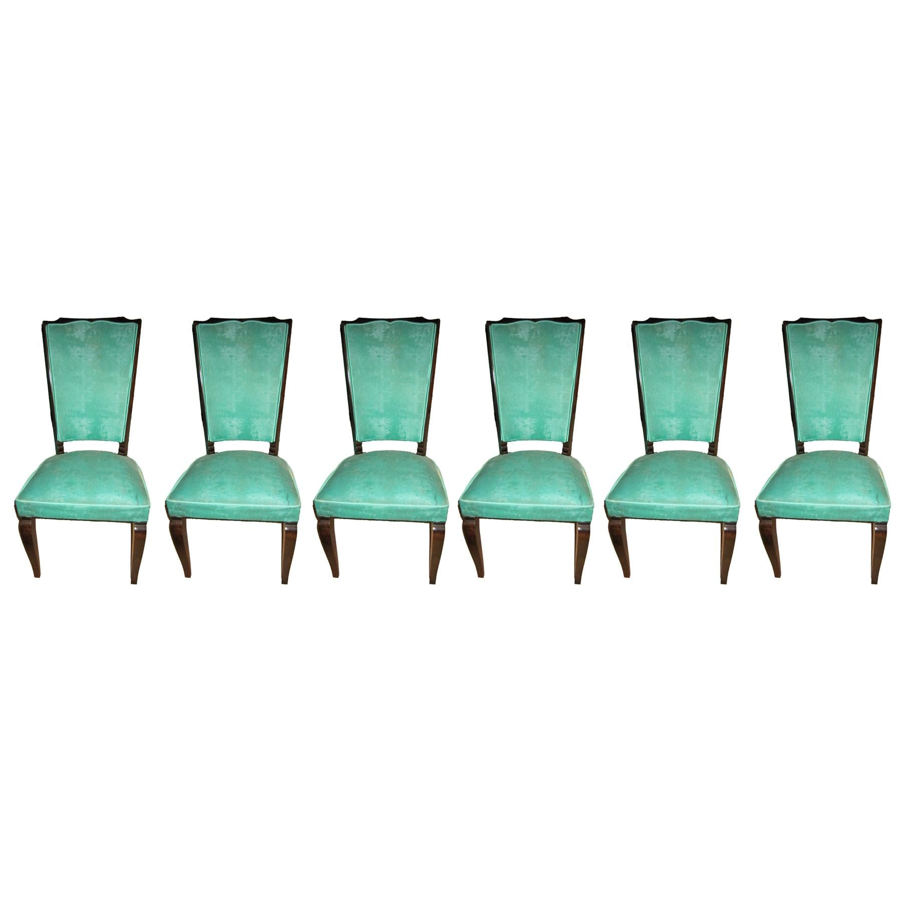 Set of Six Original French 1940s Refinished Tall Back Dining Chairs