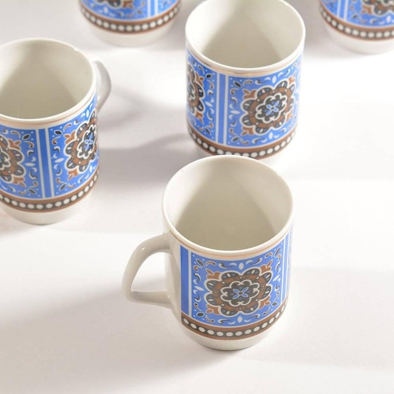 20th Century Set of Six Original Midcentury Porcelaine Mugs, circa 1960 For Sale