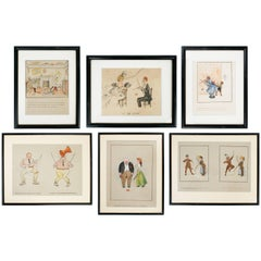 Set of Six Original Watercolor's of Hand-Drawn Diabolo Comics, c1910