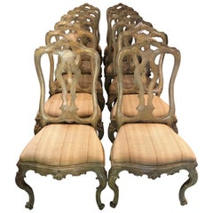 Set of Six Paint Decorated Italian Rococo Dining Room Chairs