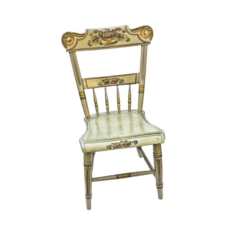 Rustic Set of Six Paint Decorated Plank Seat Chairs, circa 1860 For Sale