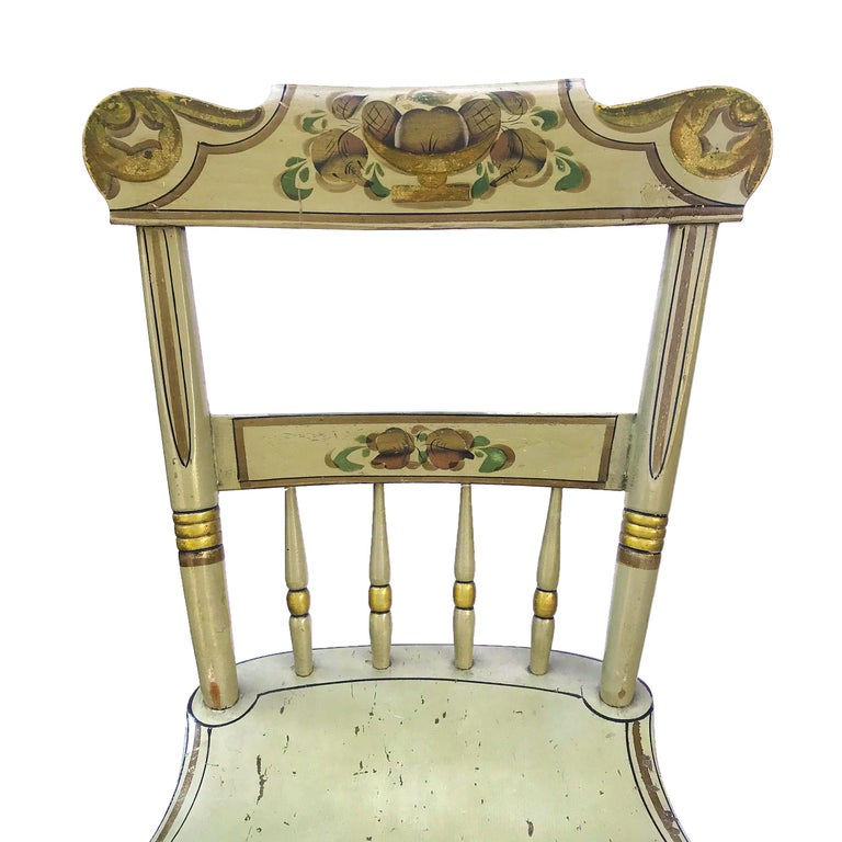 North American Set of Six Paint Decorated Plank Seat Chairs, circa 1860 For Sale