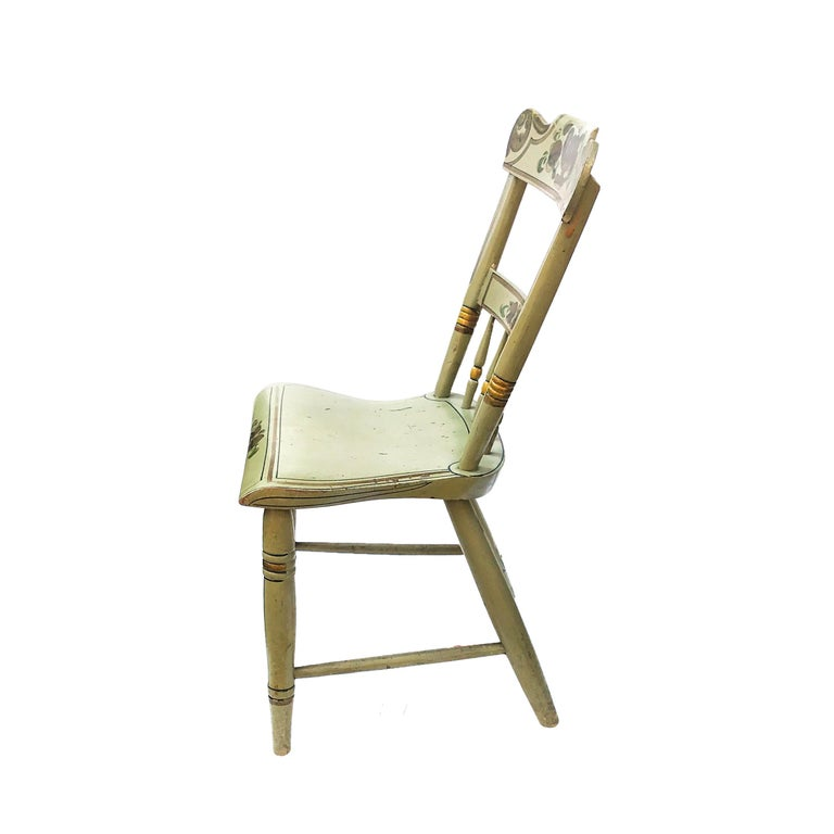 Painted Set of Six Paint Decorated Plank Seat Chairs, circa 1860 For Sale