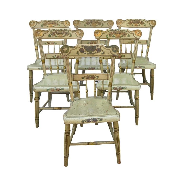Set of Six Paint Decorated Plank Seat Chairs, circa 1860 For Sale