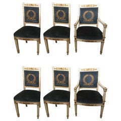 Set of Six Painted Antique Empire Style Dining Chairs with Gilt Embellishments