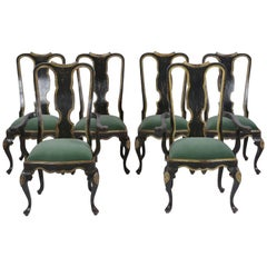Set of Six Painted English Dining Chairs