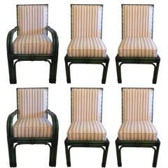 Set of Six Painted Green Bamboo Dining Chairs with Comfy Striped Upholstery
