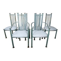 Set of Six Painted Iron Dining Chairs with Linen Seats