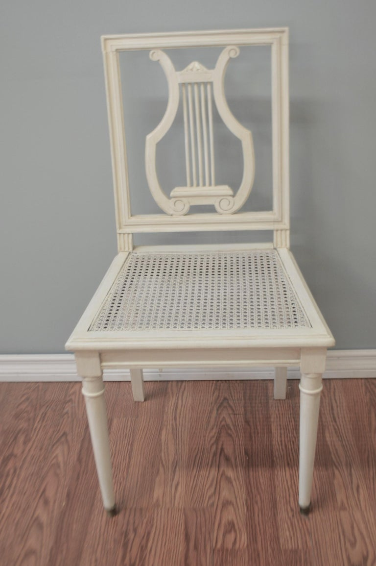 Gustavian Set of Six Painted Lyre Back Dining Chairs with Caned Seat, Removable Cushions For Sale
