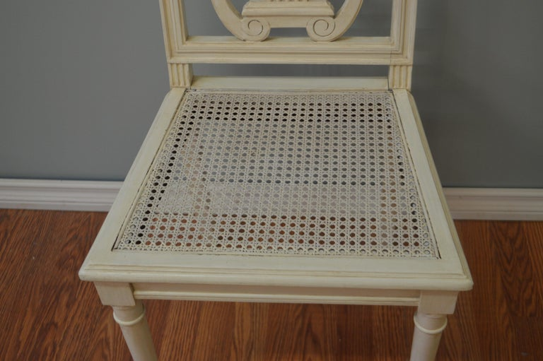 French Set of Six Painted Lyre Back Dining Chairs with Caned Seat, Removable Cushions For Sale