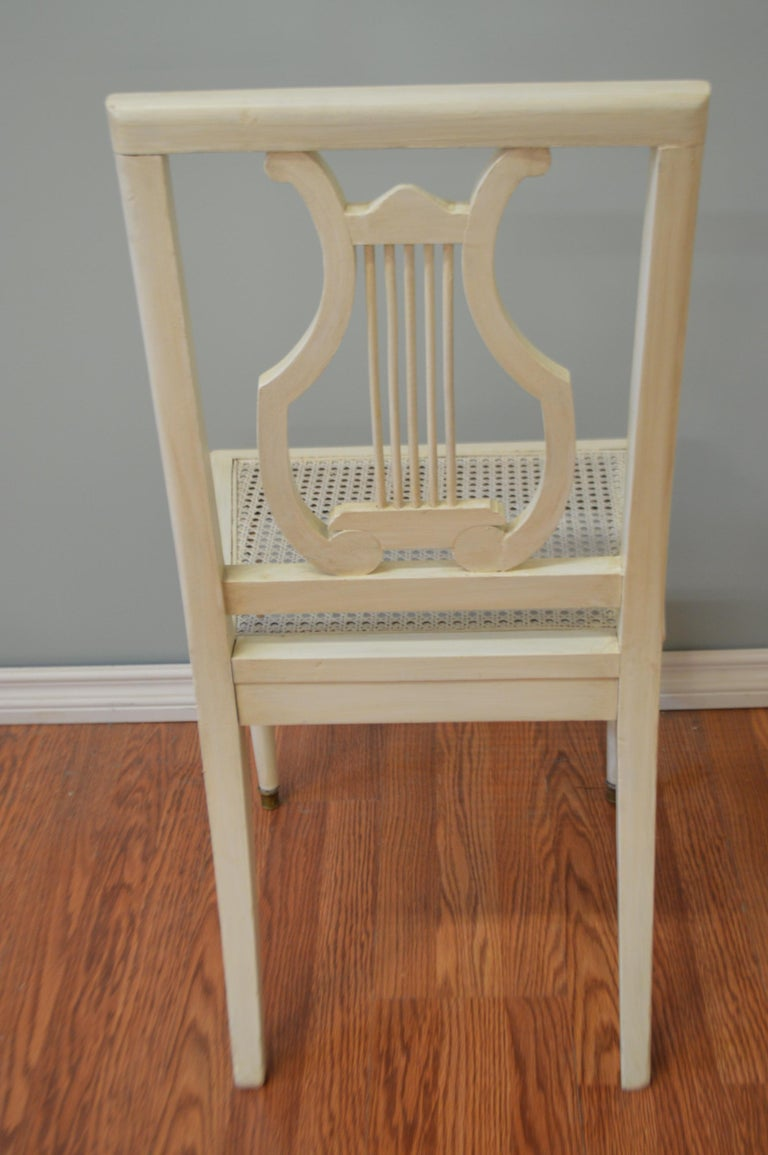 Set of Six Painted Lyre Back Dining Chairs with Caned Seat, Removable Cushions In Excellent Condition For Sale In Oakville, ON