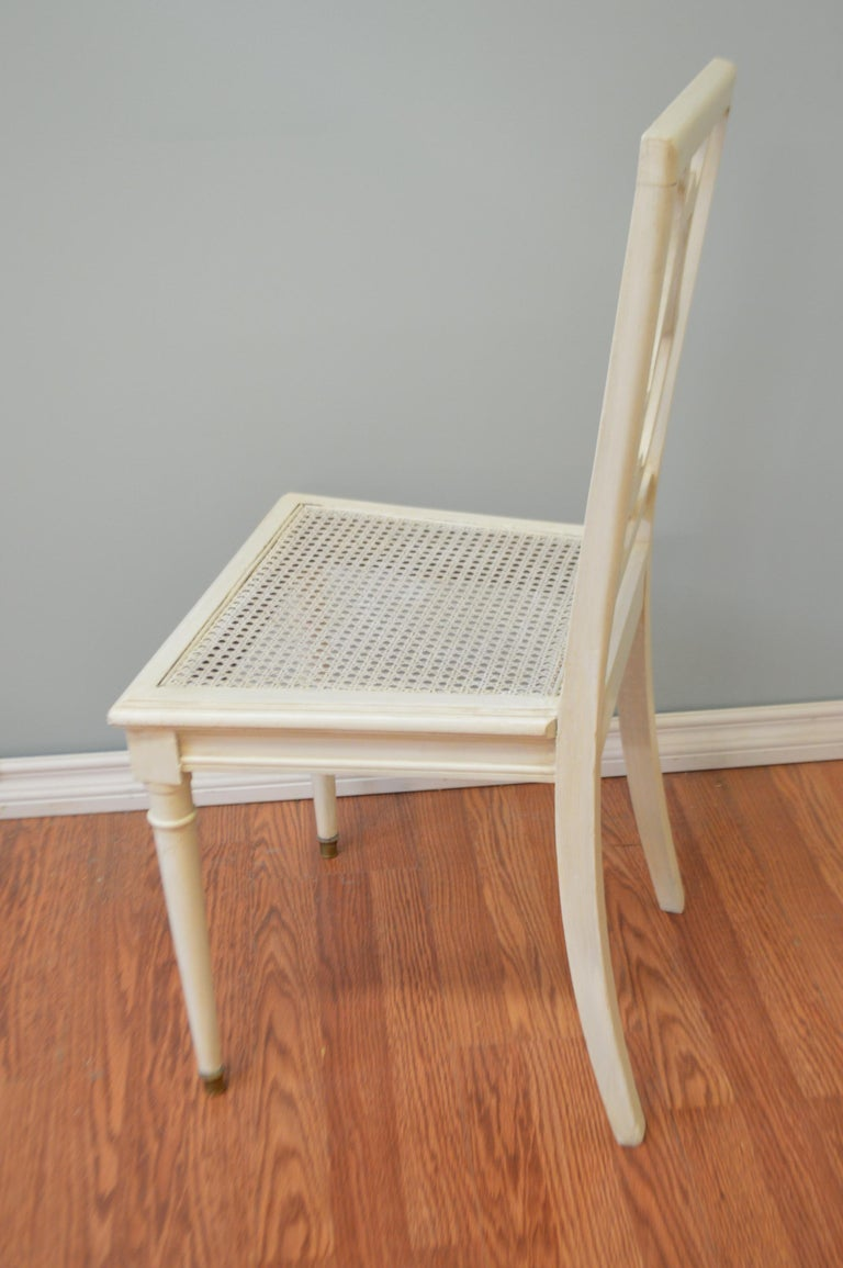 20th Century Set of Six Painted Lyre Back Dining Chairs with Caned Seat, Removable Cushions For Sale