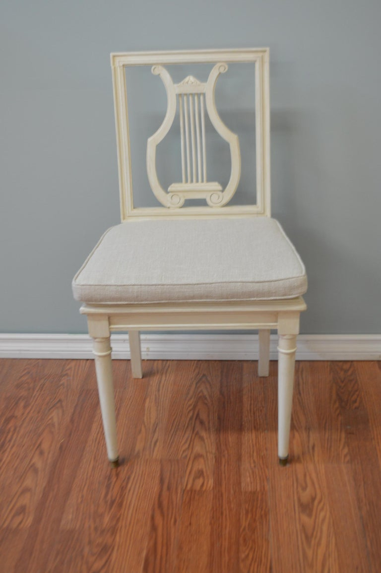 Wood Set of Six Painted Lyre Back Dining Chairs with Caned Seat, Removable Cushions For Sale
