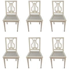 Set of Six Painted Lyre Back Dining Chairs with Caned Seat, Removable Cushions