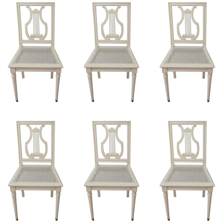Set of Six Painted Lyre Back Dining Chairs with Caned Seat, Removable Cushions For Sale