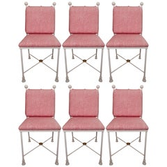 Set of Six Painted Metal Dining Chairs
