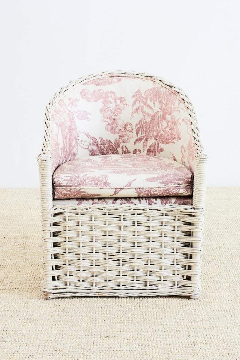 Set Of Six Painted Rattan And Wicker Garden Chairs At 1stdibs