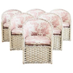 Set of Six Painted Rattan and Wicker Garden Chairs