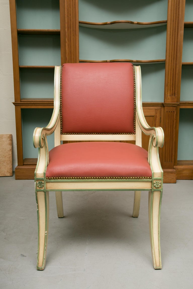 Set of Six Painted Regency Style Dining Chairs For Sale 4