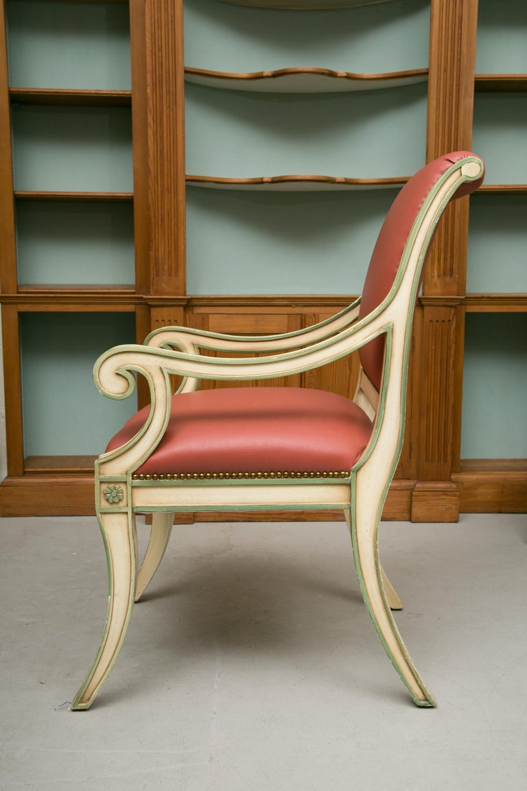 Woodwork Set of Six Painted Regency Style Dining Chairs For Sale