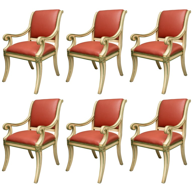 Set of Six Painted Regency Style Dining Chairs For Sale