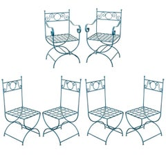 Set of Six Painted Wrought Iron French Garden Chairs