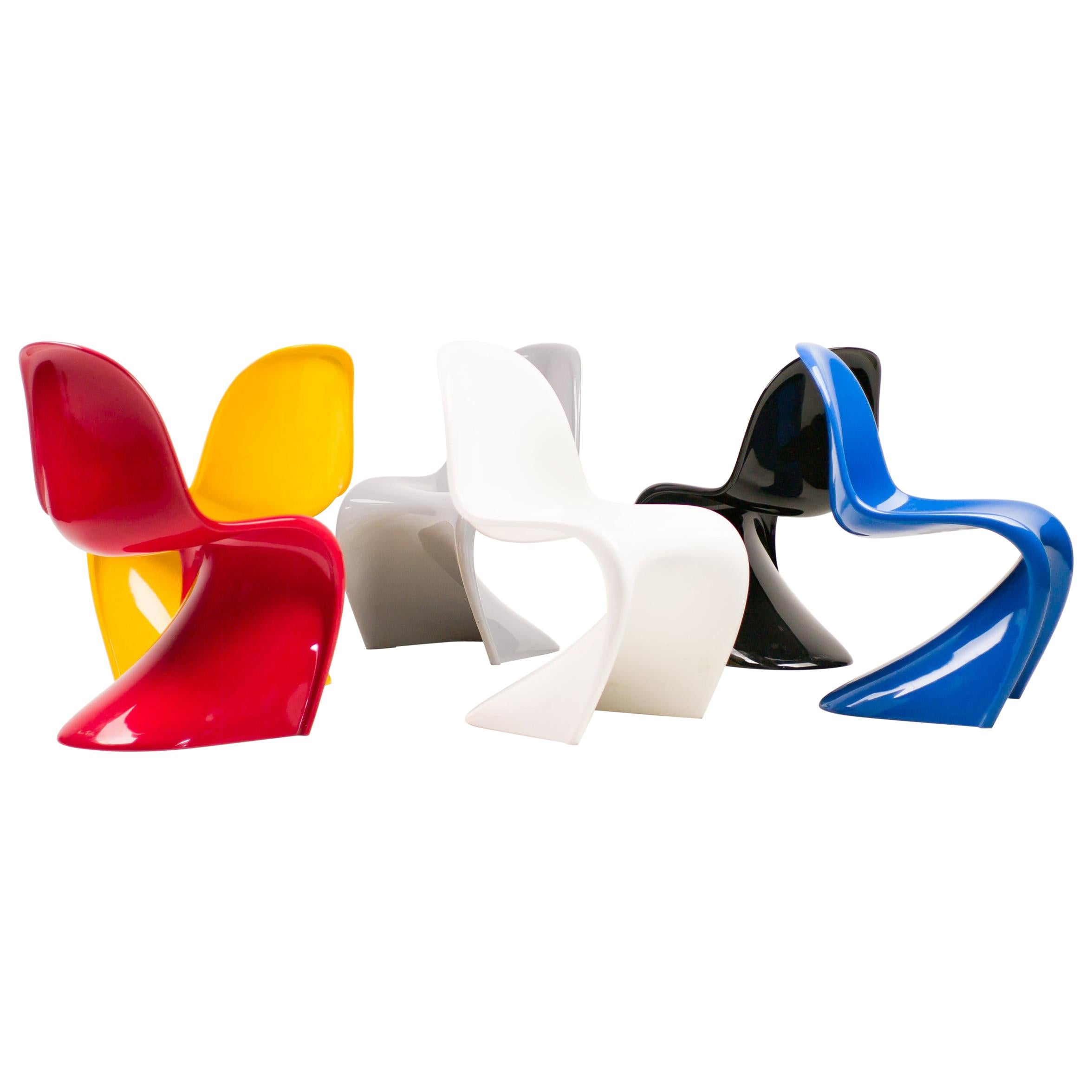 Set Of Six Panton Chairs In Primary Colors For Sale At 1stdibs