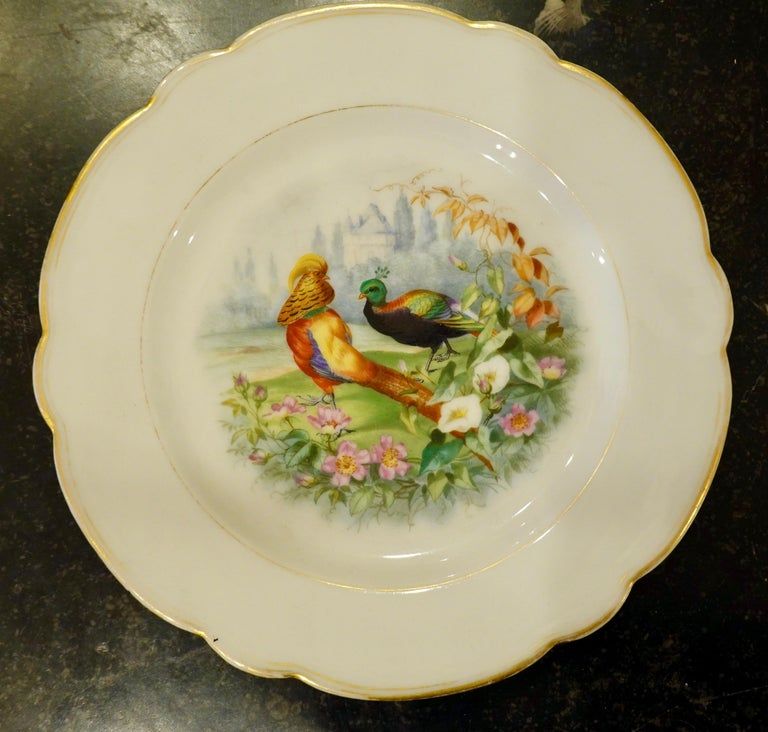 Set of Six Paris Porcelain Fruit Plates with Hand-Painted Scenes of Animals For Sale 3