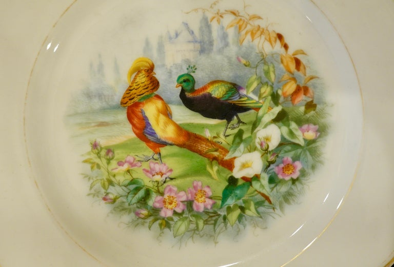 Set of Six Paris Porcelain Fruit Plates with Hand-Painted Scenes of Animals For Sale 4