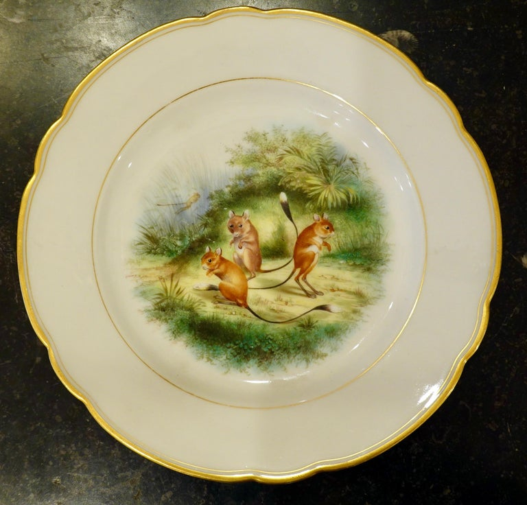 Set of Six Paris Porcelain Fruit Plates with Hand-Painted Scenes of Animals For Sale 5