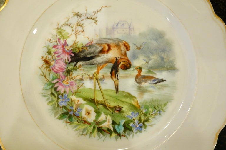 Set of Six Paris Porcelain Fruit Plates with Hand-Painted Scenes of Animals For Sale 8