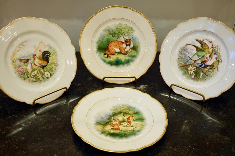 Set of six Paris porcelain scalloped plates with hand-painted scenes of birds and animals set in fanciful or pastoral environments, some with castles. Scenes include a lynx in a forest, parakeets with orchids, peacocks with a castle, mice playing, a