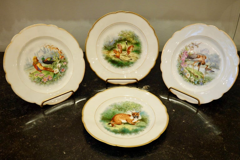 Napoleon III Set of Six Paris Porcelain Fruit Plates with Hand-Painted Scenes of Animals For Sale