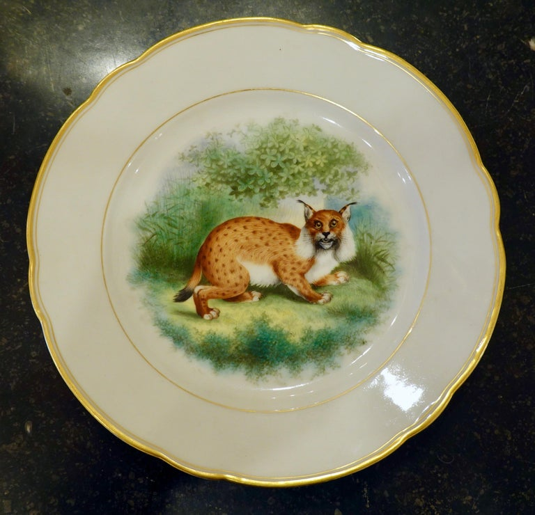 French Set of Six Paris Porcelain Fruit Plates with Hand-Painted Scenes of Animals For Sale