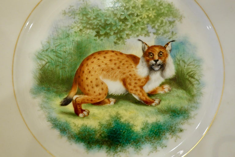 Gilt Set of Six Paris Porcelain Fruit Plates with Hand-Painted Scenes of Animals For Sale