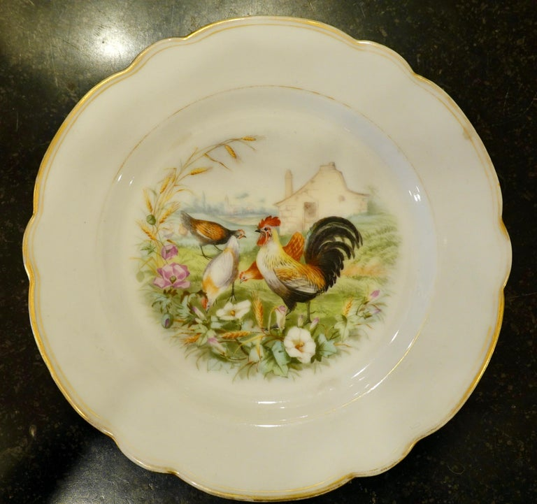 Set of Six Paris Porcelain Fruit Plates with Hand-Painted Scenes of Animals In Good Condition For Sale In Charleston, SC