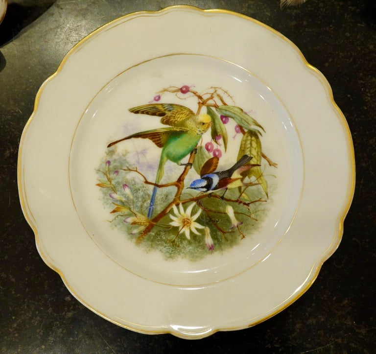 Set of Six Paris Porcelain Fruit Plates with Hand-Painted Scenes of Animals For Sale 1