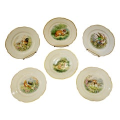 Set of Six Paris Porcelain Fruit Plates with Hand-Painted Scenes of Animals