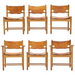 "Set of Six Patinated Børge Mogensen ""Spanish Dinner Chairs"", Oak and Leather"