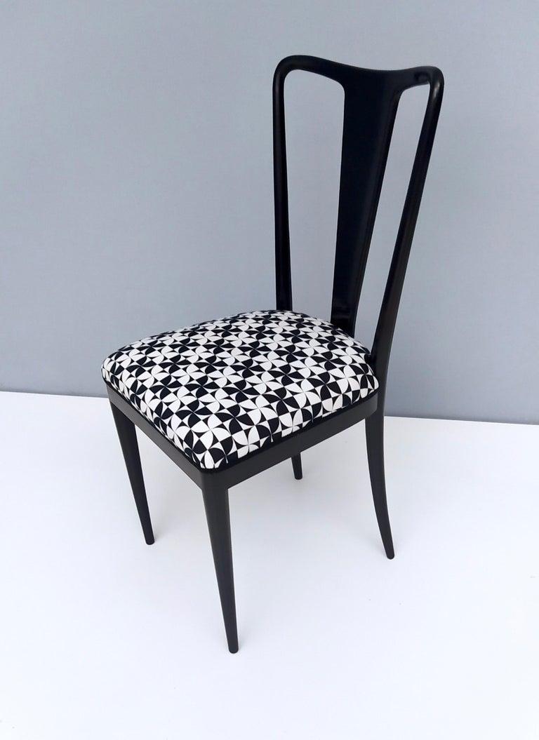 Set of Six Patterned Ebonized Walnut Chairs by Guglielmo Ulrich, Italy For Sale 3