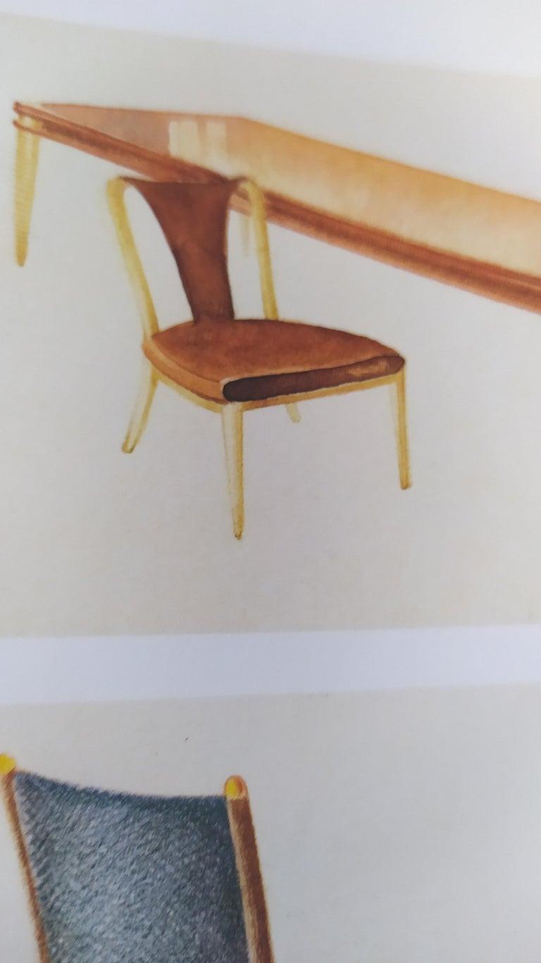 Set of Six Patterned Ebonized Walnut Chairs by Guglielmo Ulrich, Italy For Sale 8