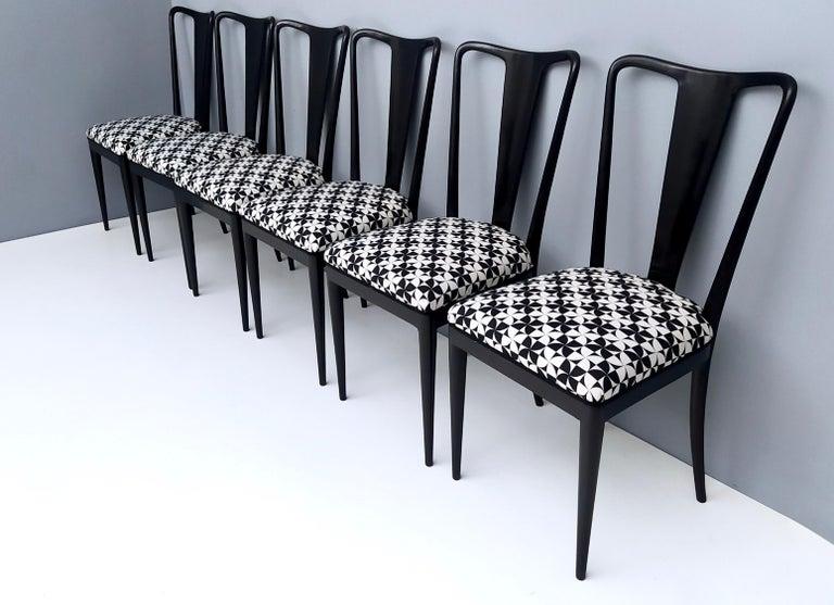 Italian Set of Six Patterned Ebonized Walnut Chairs by Guglielmo Ulrich, Italy For Sale