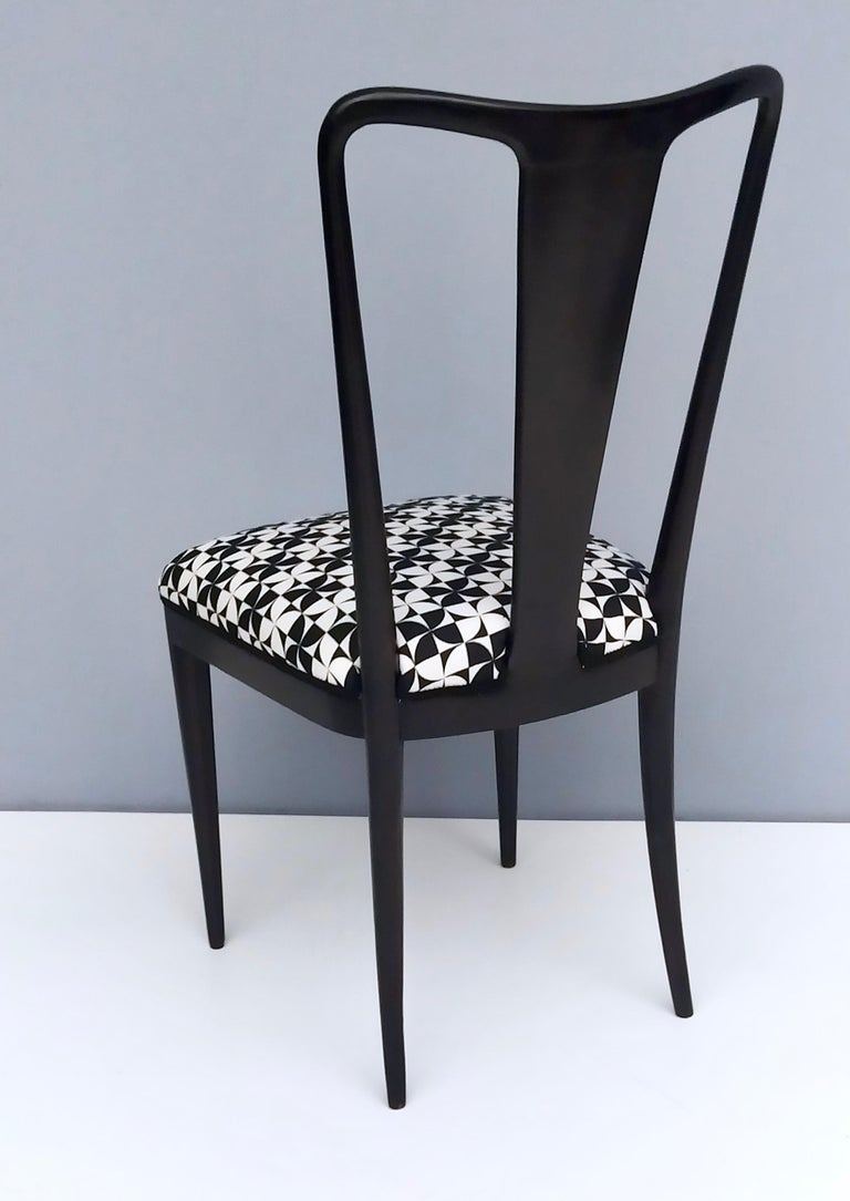 Fabric Set of Six Patterned Ebonized Walnut Chairs by Guglielmo Ulrich, Italy For Sale